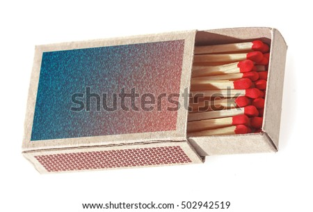 Matches in a matchbox. Isolated on white background. Soft focus.