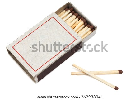 matches in a matchbox it is isolated on a white background - stock photo