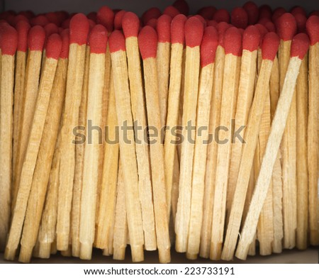 Matches in The Box closeup shot - stock photo