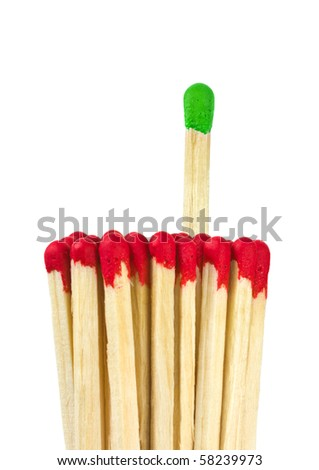 Matches - leadership concept isolated on white background - stock photo