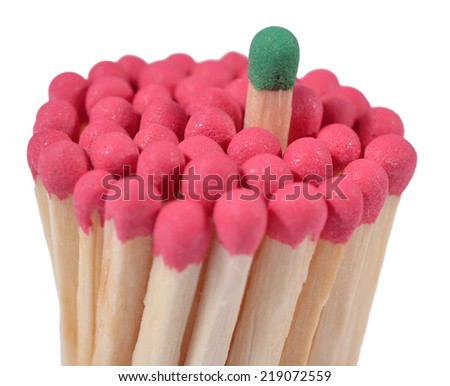 Matches - leadership concept on a white background - stock photo