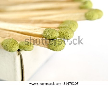 matches sticking out of the matchbox, macro shot over white background with copy space, shallow DOF - stock photo