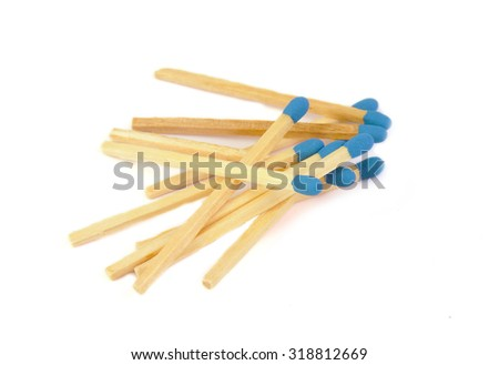 Matches with blue head isolated on white background - stock photo