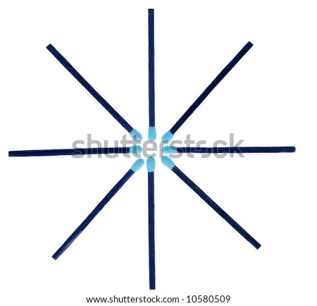 Matches with blue tips ordered in a form of star isolated on white