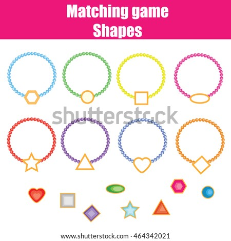 Matching game match shapes task learning stock illustration matching game match the shapes task learning geometry shapes theme for kids books ccuart Gallery