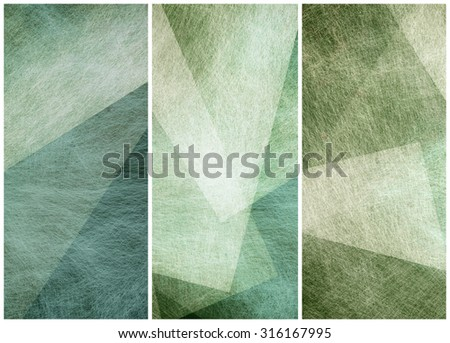 matching graphic art side bars headers or footers in abstract blue green geometric angles patterns - stock photo
