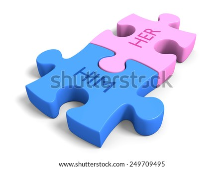 Matchmaking concept of a couple puzzle pieces together with the words him and her - stock photo