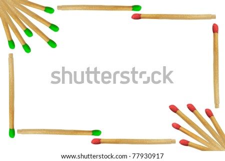 Matchstick frame isolated on white background - stock photo