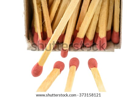 Matchsticks, one end is coated with a material that can be ignited by frictional heat generated by striking the match against a suitable surface.The coated end of a match, known as the match head. - stock photo