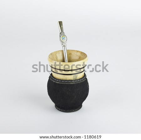 Mate cup with metal straw - stock photo