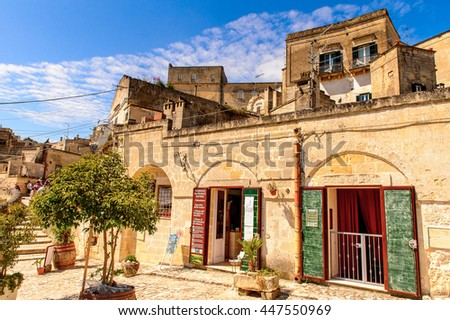 MATERA, ITALY - MAY 9, 2016: Architecture of Matera, Puglia, Italy. The Sassi and the Park of the Rupestrian Churches of Matera. UNESCO World Heritage site