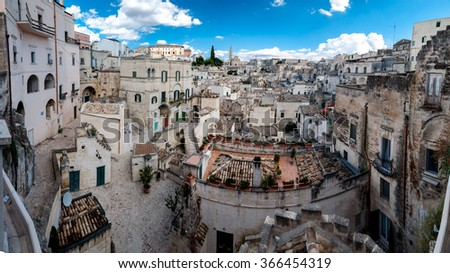 MATERA, ITALY  SEPTEMBER 15, 2014: Panoramic view of Sassi di Matera from Piazza Vittorio Veneto. The city is a UNESCO World Heritage site and European Capital of Culture for 2019 - stock photo