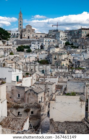 MATERA, ITALY â?? SEPTEMBER 15, 2014:   View of Sassi di Matera from Piazza Vittorio Veneto. The city is a UNESCO World Heritage site and European Capital of Culture for 2019 - stock photo