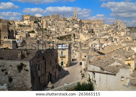 Matera town in Italy with cave settlements