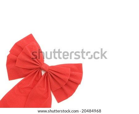 Material-based ribbon bow isolated on a white background