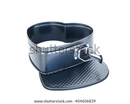 material heart-shaped baking loaf pan non-stick coating. isolated on white. - stock photo