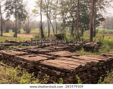 Material Ready For Train Track Building - Authentic, Wooden - stock photo