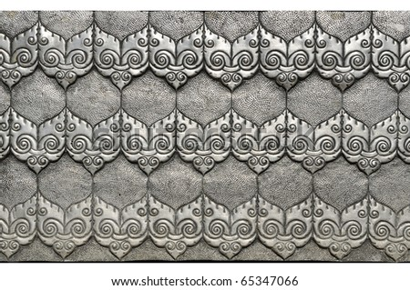 Material Roof,wall and ancient tile Thai silver pattern Crafts world. Thai Lanna style. Delicate style is timeless and powerful. Chiang Mai, Thailand. - stock photo