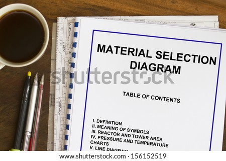 material selection diagram concept for process engineering. - stock photo