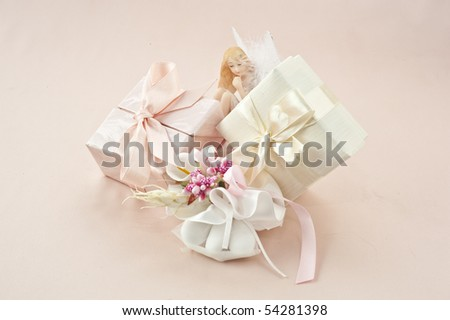 material to make favors for weddings, communions and baptisms - stock photo
