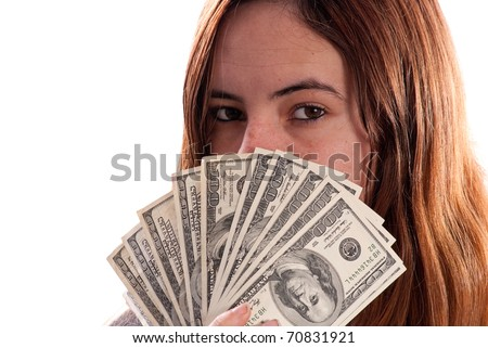 Materialistic Girl with Money - stock photo