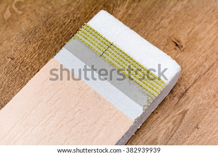 Materials background - thermal insulating hemp fiber panels with coating, close up view