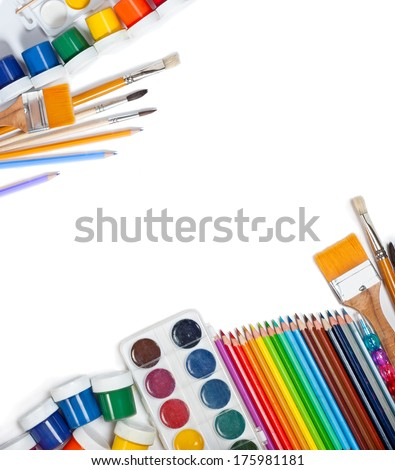 Materials for children's creativity white background - stock photo