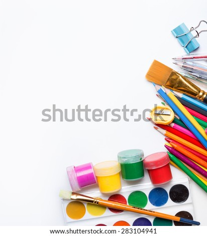 Materials for children's creativity white background  - stock photo