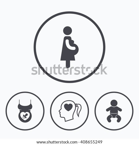 Maternity icons. Baby infant, pregnancy and dummy signs. Child pacifier symbols. Head with heart. Icons in circles. - stock photo