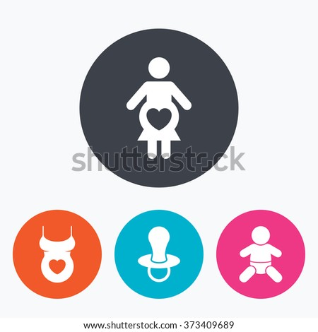Maternity icons. Baby infant, pregnancy and dummy signs. Child pacifier symbols. Shirt with heart. Circle flat buttons with icon. - stock photo