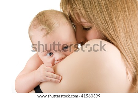 maternity: mother with her baby boy isolated on a white - stock photo