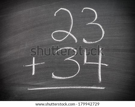 Math addition question - stock photo