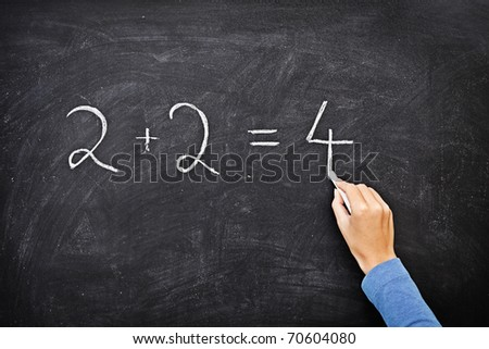 Math chalkboard / blackboard. Hand writing simple mathematical equation. Nice texture. - stock photo