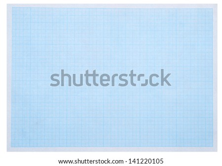 Math concept with sheet of blue graph paper background - stock photo