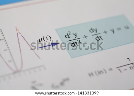 Math Expressions Concerning Differential Equations - stock photo