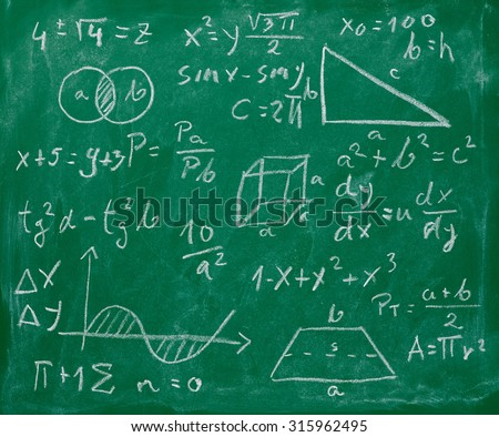 math formulas and signs on a chalkboard - stock photo
