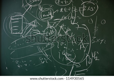 math formulas on a blackboard - stock photo