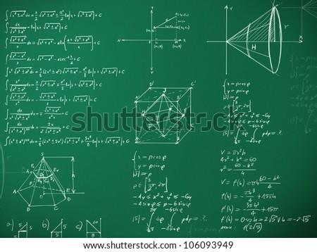 math formulas on school blackboard illustration - stock photo