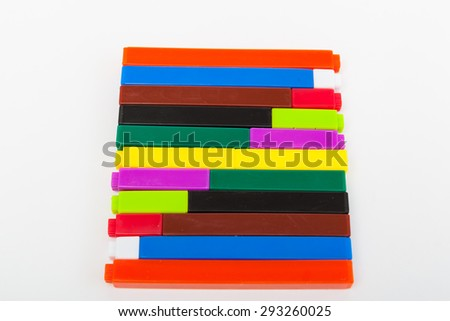 Math learning tools fraction rods against white background