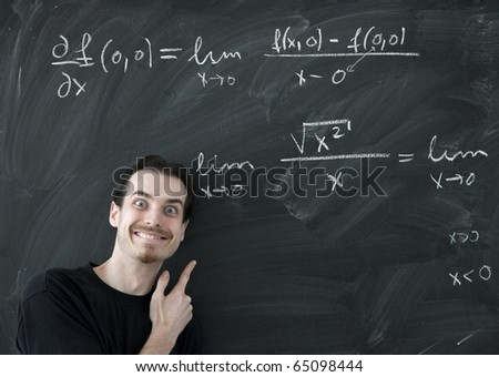 Math lesson with mad teacher - stock photo