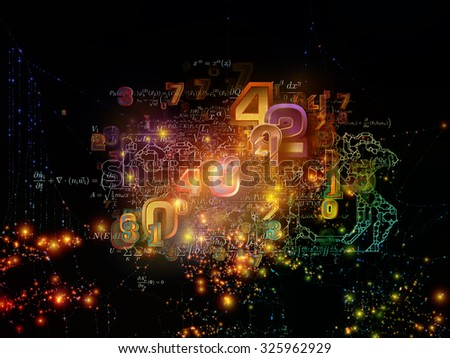 Math Network series. Background design of lights, strands and numbers on the subject of science, technology and networking