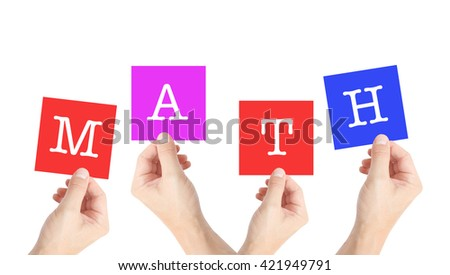 Math on cards held by hands - stock photo