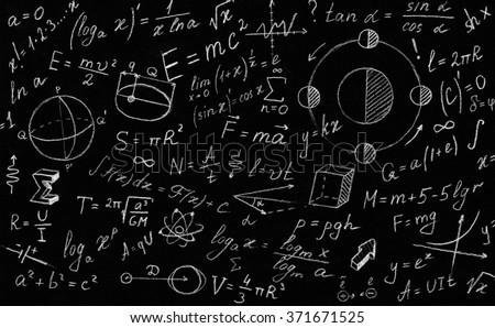 Math physics formulas and symbol on black background. - stock photo