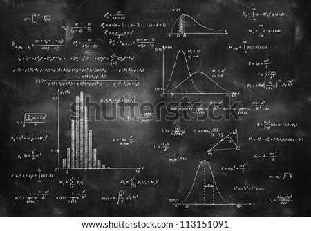 math physics formulas on balck chalkboard - stock photo