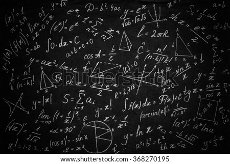Math physics formulas on black background. - stock photo