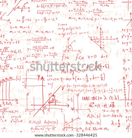 Math seamless pattern endless pattern with handwriting of various operations such as addition, subtraction, multiplication, division an calculations. Geometry, mathematics subjects. College lectures. - stock photo