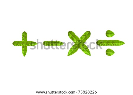 math sign made of leaves - stock photo