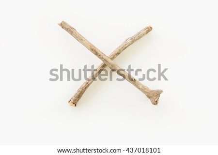 Math symbols made of twigs