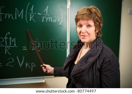 math teacher with pointer