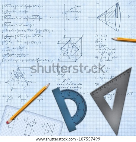 mathematical desk with formulas and equipment background illustration - stock photo